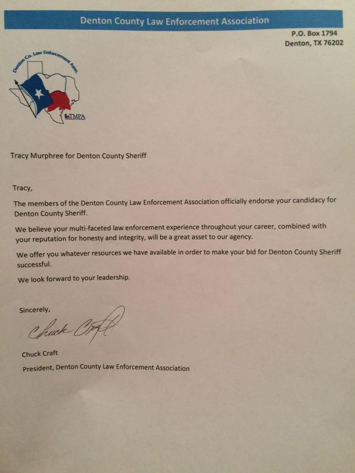 Denton County Law Enforcement Association endorses Tracy Murphree For Sheriff